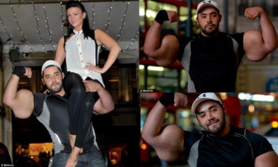 """بالصور.. تعرفوا الى """"بوباي"""" المصري صاحب أكبر عضلات في العالم"""