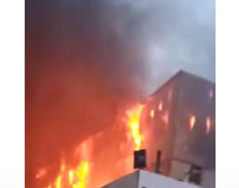 بالفيديو : 15 تنك ماء من الامانة لمساعدة الدفاع المدني باطفاء حريق سحاب