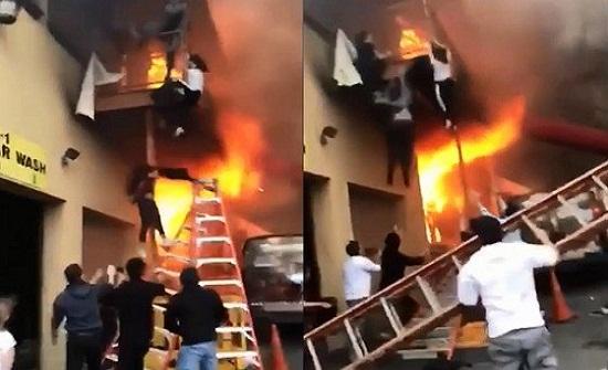 فيديو مروع لأطفال يقفزون من الشرفة للهروب من حريق ضخم