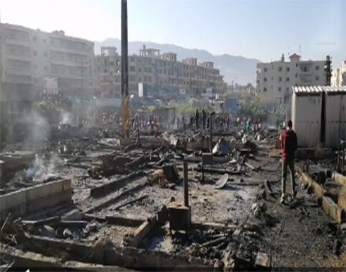 شاهد : ما تبقى من مخيم للاجئين السوريين بشمال لبنان