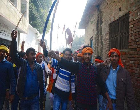 متطرفون هندوس يتظاهرون لبناء معبد مكان مسجد تاريخي