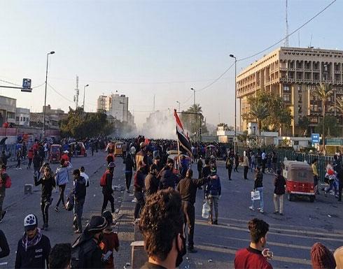 بالفيديو : استمرار الصدامات وإطلاق نار في ساحة الوثبة ببغداد
