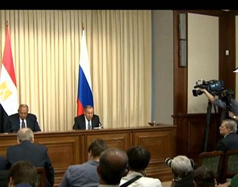 شاهد : مؤتمر صحفى لوزير الخارجية سامح شكرى ونظيره الروسى بالعاصمة الروسية موسكو