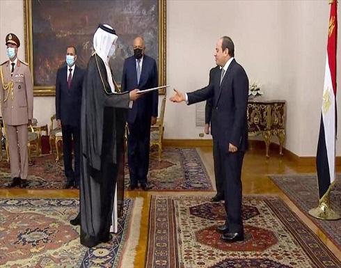 """رئيس مصر يتسلم أوراق اعتماد سفير قطري """"فوق العادة"""""""