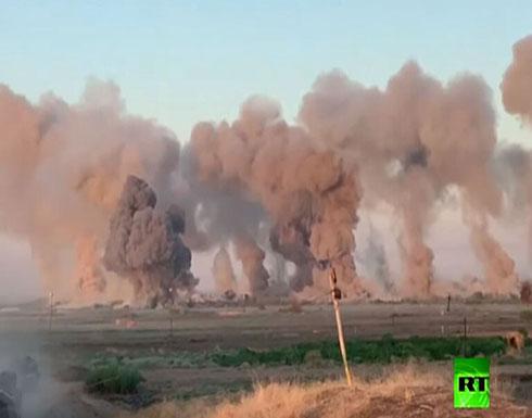 """بالفيديو .. ضربات جوية عنيفة ضد مواقع """"داعش"""" في العراق"""