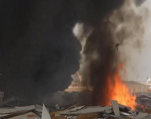 فيديو : اندلاع حريق ضخم في منطقة مرفأ بيروت