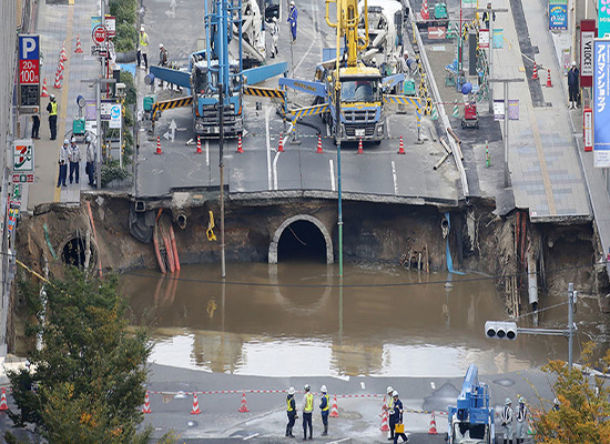 بالفيديو: حفرة اليابان العملاقة تنهار بعد إصلاحات أدهشت العالم