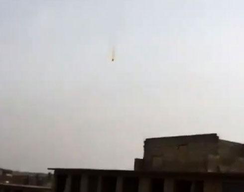 شاهد : اسقاط طائرة  مروحية للنظام  في ريف حلب الغربي