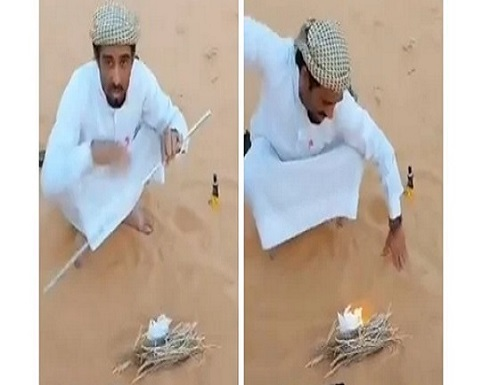 بدون كبريت.. رجل يشعل النار باستخدام الرمل.. فيديو