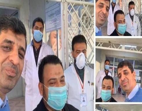 بالفيديو.. عراقية تلقي الحلوى على الأطباء احتفالا بشفاء زوجها