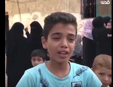 شاهد .. طفل من غزة يرثى زميله الذي قتله الاحتلال الاسرائيلي