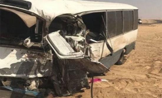 إصابة 11 شخصا اثر حادث تصادم باص ومركبة  في  معان