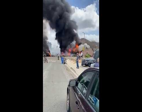 شاهد : مصرع شخصين في حادث تحطم طائرة بولاية كاليفورنيا الأمريكية