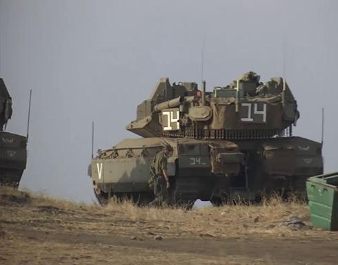دبابات إسرائيلية في الجولان بعد تبادل إطلاق النار في مزارع شبعا .. شاهد