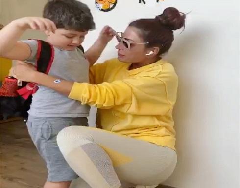 بعد غياب طويل ..شاهد رد فعل ابن شقيق هبة نور على لقائها (فيديو)