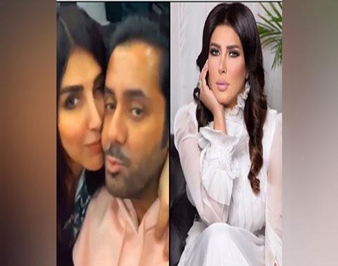 """بالفيديو: الممثلة البحرينية زهرة عرفات تتحرش بالمذيع الكويتي """"صالح الراشد"""" وتقبله على الهواء"""