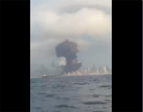 شاهد : لحظة الانفجار في مرفأ بيروت