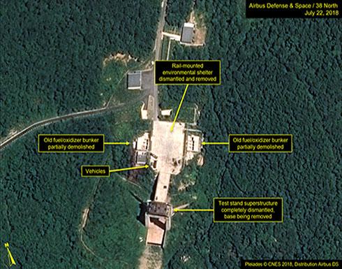 صور : كوريا الشمالية تفكك موقعاً للصواريخ.. وترمب يرحب
