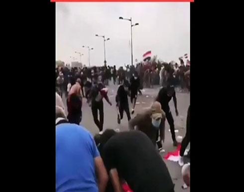 شاهد : الأمن العراقي يطلق الرصاص الحي بكثافة على المتظاهرين