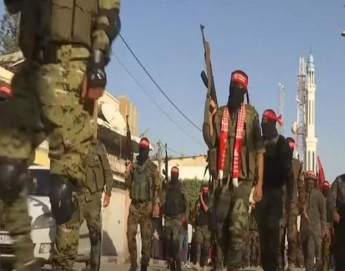 شاهد : مسيرة عسكرية للجبهة الديمقراطية لتحرير فلسطين في غزة