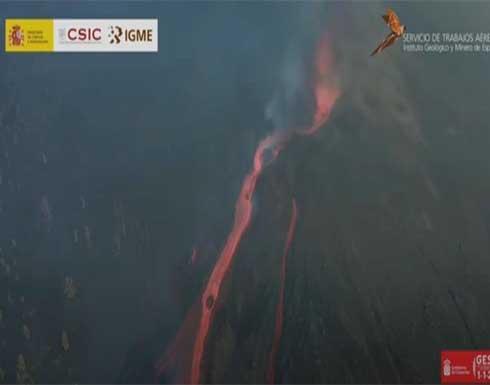 شاهد : كتل صخرية بحجم منزل تتدفق من بركان لا بالما