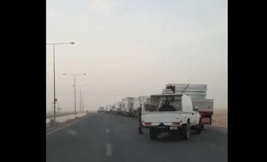 بالفيديو : شاهد احدى قوافل شركة البداد كابيتال من الامارات للاردن لإقامة المستشفيات الميدانية