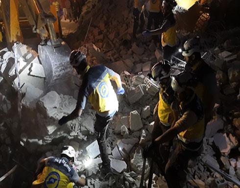 شاهد : قصف طائرات الاحتلال الروسي على بلدة معرة حرمة بإدلب - سوريا