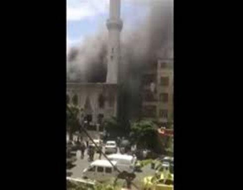 شاهد : اندلاع حريق في جامع الفاروق بدمشق
