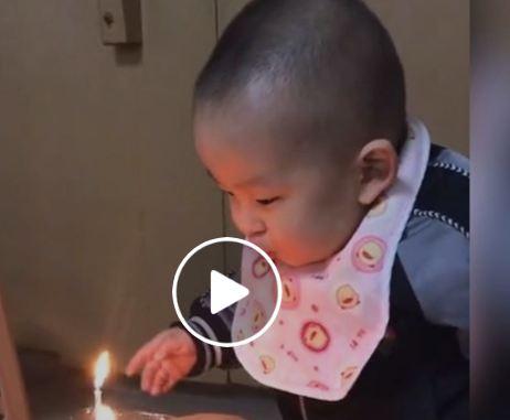 شاهد .. ضحكة طفل لا يستطيع إطفاء شمعة عيد ميلاده تذيب قلوب مستخدمي الإنترنت