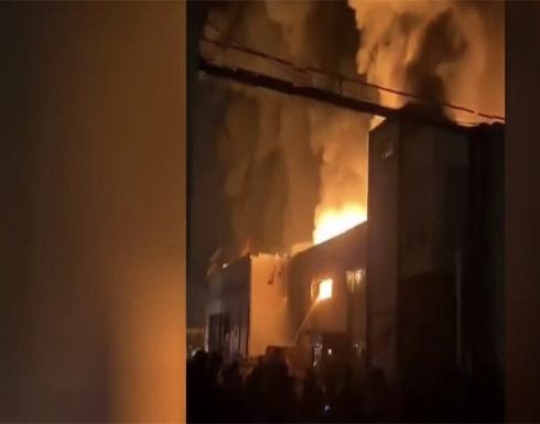 شاهد : اندلاع حريق هائل جنوب طهران