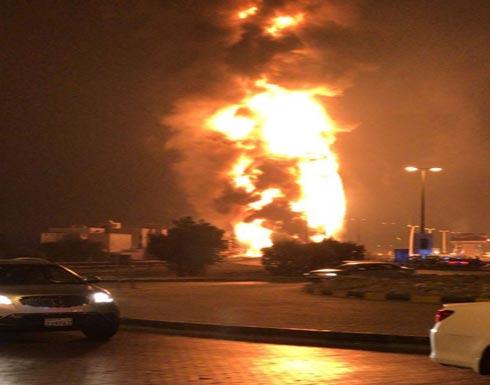 حريق ضخم بأحد أنابيب النفط بدوار بوري القريب من سوق واقف بالبحرين ( صور )