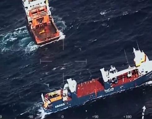 شاهد : سوء الأحوال الجوية يعيق إنقاذ السفينة الهولندية المنكوبة
