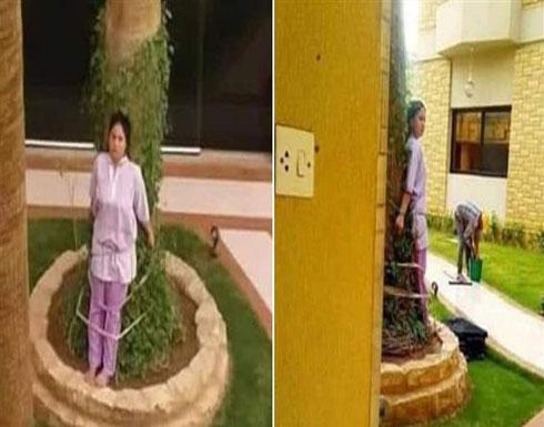 عنصرية ولاإنسانية.. عائلة تربطُ عاملتها بشجرة! (صور)