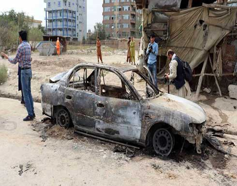 تنظيم الدولة يعلن المسؤولية .. بقايا سيارة استهدفت مطار كابول بـ5 صواريخ - بالفيديو
