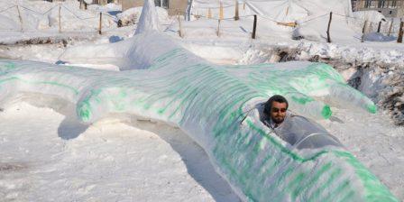 بطائرة حربية من الثلج.. تركي يبحث عن فرصة عمل