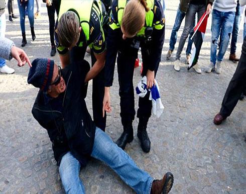 بالفيديو : هولندي يعتدي على امرأة خلال مظاهرة داعمة لفلسطين
