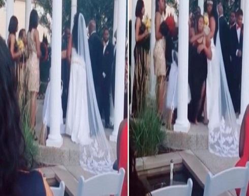 امريكية حامل تقتحم حفل زفاف وتصرخ في وجه العريس : «أنت والد طفلي»