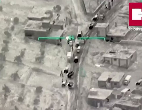 شاهد : الطائرات التركية تدمر قافلة عسكرية (رتل) سورية بالكامل