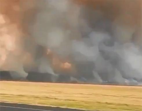 شاهد : سلسلة انفجارات قوية نتيجة لحريق داخل قاعدة عسكرية في روسيا
