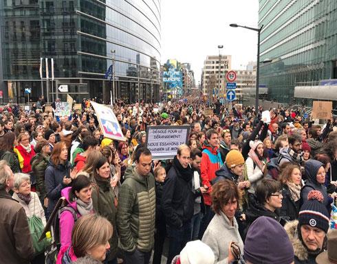 تظاهرات ببروكسل ضد سياسات الحكومة المناهضة للمهاجرين
