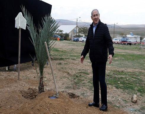 شاهد : نتنياهو يزرع شجرة في غور الأردن ويقول هذه المنطقة جزء من اسرائيل