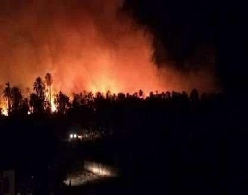 شاهد ..  حريق يلتهم قرية مصرية