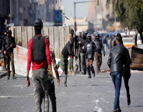 شاهد : جرحى خلال صدامات بين معتصمين وعناصر أمن في بغداد
