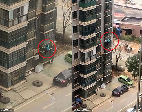 بالفيديو : صينية مُسنة تنزل 8 طوابق على واجهة مبنى شاهق.. والسبب كورونا