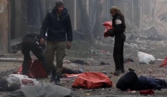 بالفيديو..مجزرة تودي بحياة 45 شخصا من النازحين إلى الأحياء الغربية بحلب