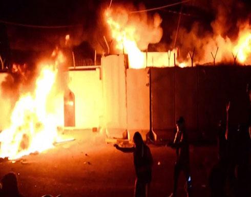 شاهد : للمرة الثالثة حرق القنصلية الايرانية في النجف