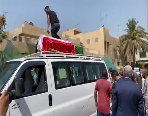 شاهد : المشاهد الأولية لتشييع جثمان الهاشمي في بغداد