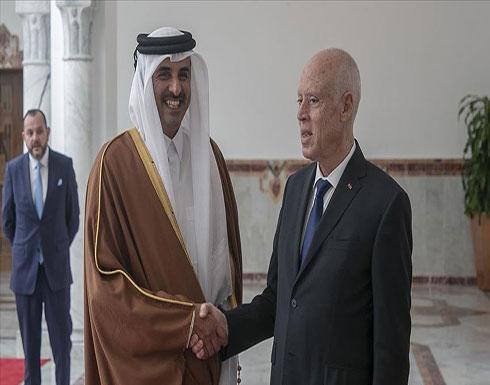 تونس.. سعيد وتميم يبحثان التعاون المشترك ومسائل عربية ودولية