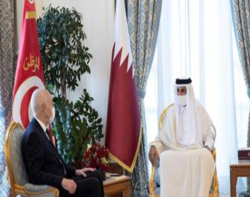 أمير قطر والرئيس التونسي يبحثان الأزمة الليبية