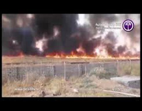 شاهد .. حريق كبير في حقول كبريت المشراق بنينوى في العراق